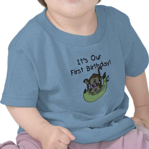 Twins - Boy and Girl Monkey 1st Birthday Tees