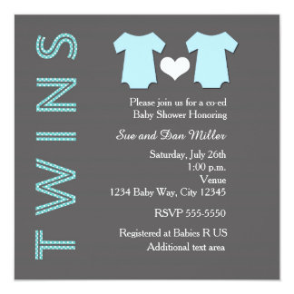 TWINS Boy Blue Twin Baby Shower Party Invitation