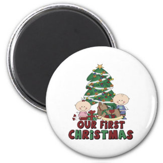 Twins Boy & Girl first Christmas 6 Cm Round Magnet