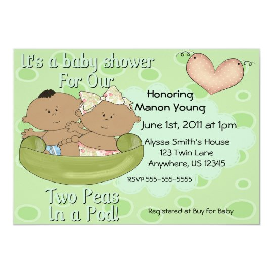 Twins Boy Girl Peas in Pod Baby Shower Invitation