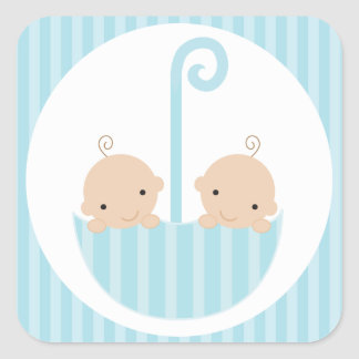 Twins Boys Baby Shower Square Sticker