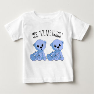 Twins Boys Blue Teddy Bear Shirt