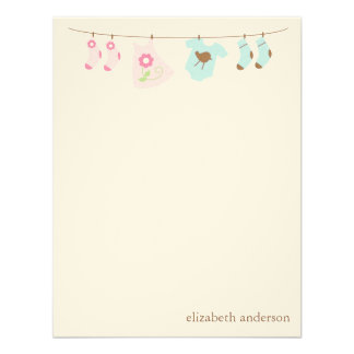 Twins Clothesline Custom Flat Thank You Notes Custom Announcements