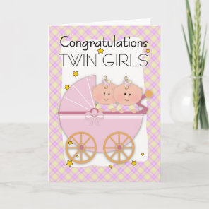 Twins - Congratulations Twin Girls In A Pram Card