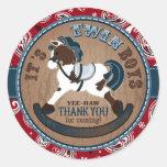 Twins Cowboy Rocking Horse Western Baby Shower Round Sticker