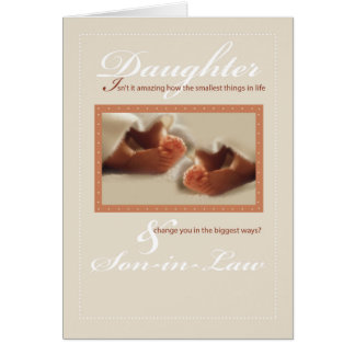 Twins Daughter and Son-in-Law Baby Feet Congratula Greeting Card