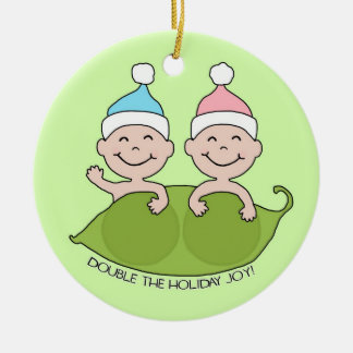 TWINS: Double the Holiday Joy! Round Ceramic Decoration