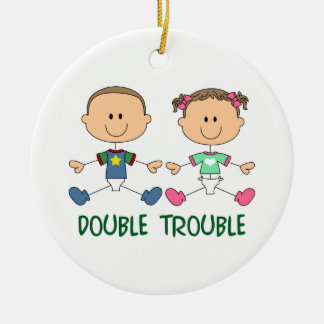 TWINS DOUBLE TROUBLE ROUND CERAMIC DECORATION