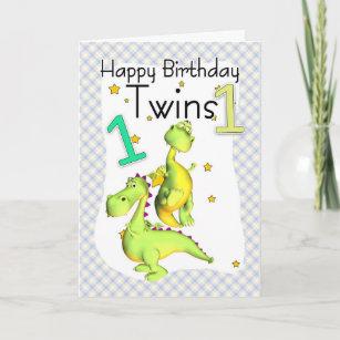twins 1st birthday cards zazzle uk