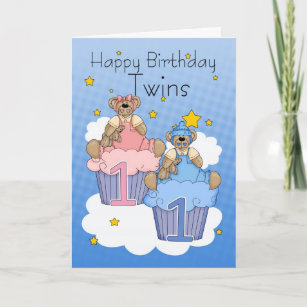 Twins First Birthday Card