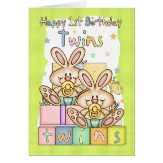 Twins First Birthday Card - Two Little Rabbits