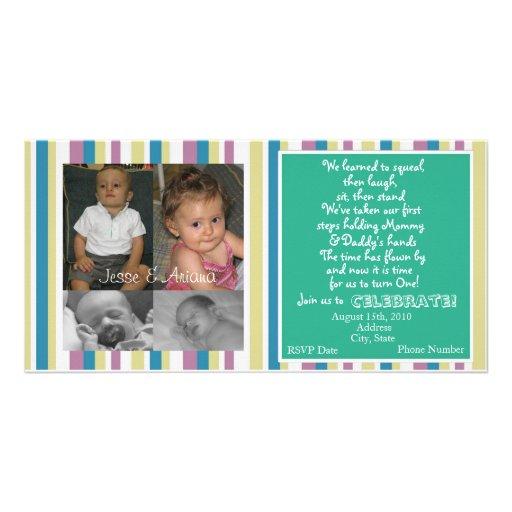 Twins First Birthday Invitation Photo Card Template