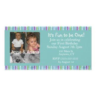 Twins First Birthday Party Invitation