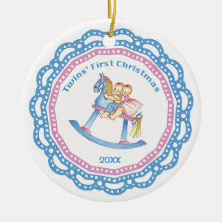 Twins' First Christmas Boy/Girl Ornament