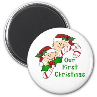 Twins First Christmas Candy Cane 6 Cm Round Magnet