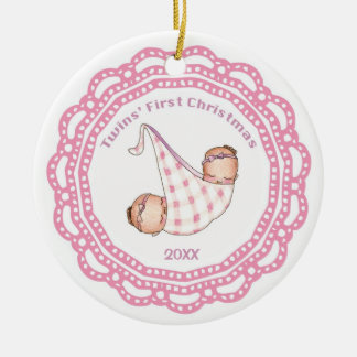 Twins First Christmas Girl Ornament