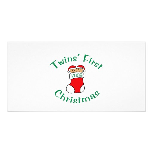 Twins First Christmas Photo Greeting Card