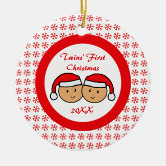 Twins First Christmas Santa Hats Ornament