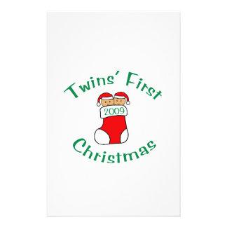 Twins First Christmas Custom Stationery