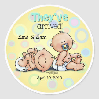 Twins have arrived classic round sticker