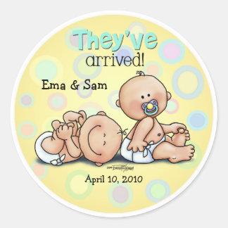 Twins have arrived round sticker