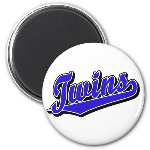 Twins in Blue Refrigerator Magnets