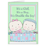 Twins in Crib, Girl and Boy Baby Greeting Card