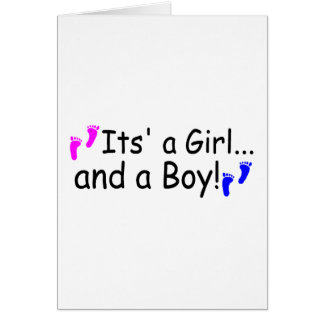 Twins Its A Girl And A Boy Baby Footprints Card