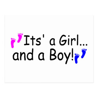 Twins Its A Girl And A Boy Baby Footprints Postcard
