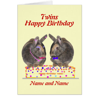 Twins male female birthday card
