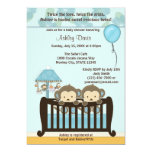 TWINS Monkey Baby Shower Invitation Crib BLUE CJ-B 13 Cm X 18 Cm Invitation Card