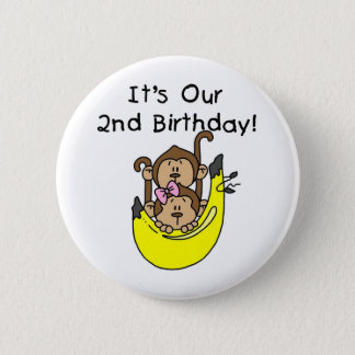 Twins Monkey Boy and Girl 2nd Birthday 6 Cm Round Badge
