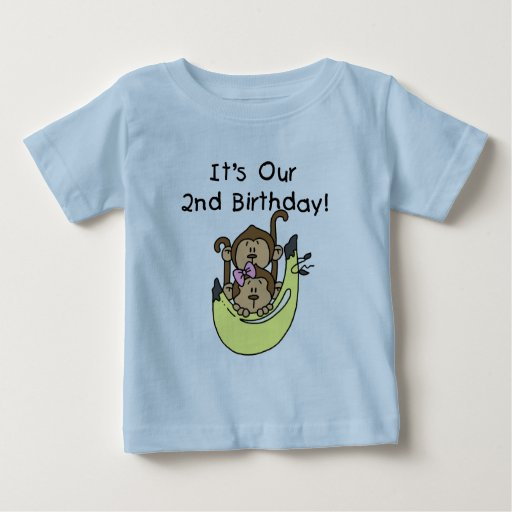 Twins Monkey Boy and Girl 2nd Birthday Baby T-shirt