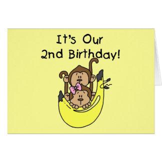 Twins Monkey Boy and Girl 2nd Birthday Card