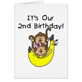 Twins Monkey Boy and Girl 2nd Birthday Card