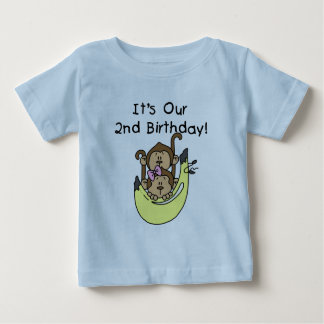 Twins Monkey Boy and Girl 2nd Birthday T-shirts