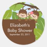 Twins Monkey Jungle Safari Baby Shower Sticker