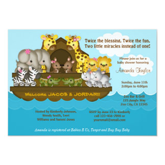 TWINS Noah's Ark Baby Shower Invitation
