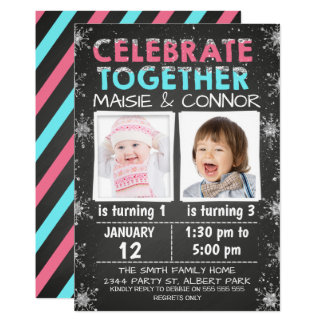 Twins  or Joint Winter Birthday Invitation