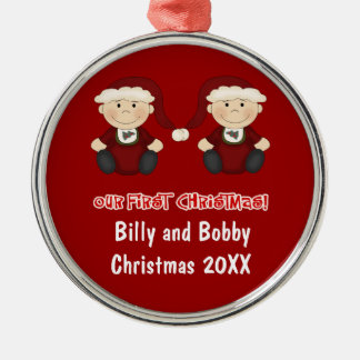 Twins:  Our First Christmas Customizable Christmas Ornament