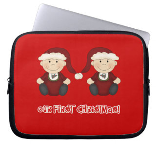 Twins:  Our First Christmas Customizable Computer Sleeves