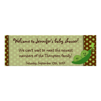 Twins Peas in a Pod Baby Shower Banner Poster