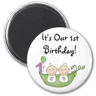 Twins Peas in a Pod  First Birthday 6 Cm Round Magnet