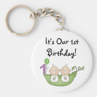 Twins Peas in a Pod  First Birthday Basic Round Button Key Ring