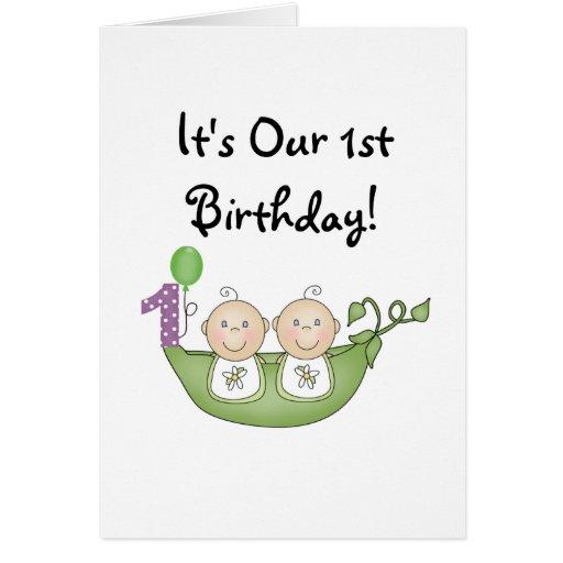 Twins Peas in a Pod  First Birthday Card