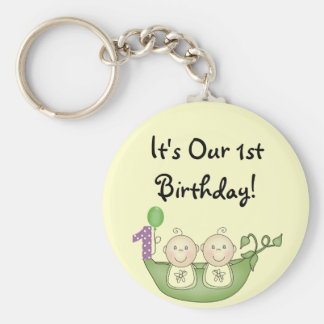 Twins Peas in a Pod  First Birthday Keychains
