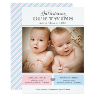 Twins Photo Birth Announcement Card | Girl and Boy