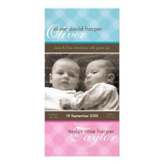 TWINS PHOTO BIRTH ANNOUNCEMENT :: harmony 1P Customised Photo Card
