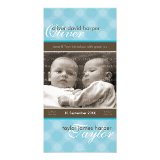 TWINS PHOTO BIRTH ANNOUNCEMENT :: harmony 5P Card