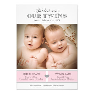Twins Photo Birth Announcement Two Baby Girls